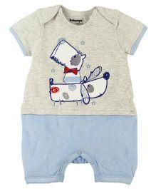 Babyoye Envelope Neck Half Sleeve Romper - Grey Light Blue