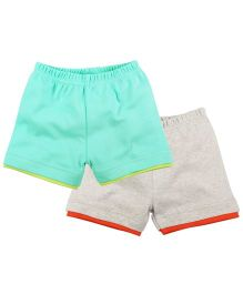 Babyoye Solid Pattern Shorts Pack of 2 - Multi Coloured