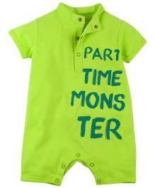 Babyoye Part Time Monster Printed Half Sleeve Romper - Lemon Green