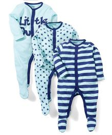 Babyoye Full Sleeves Sleep Suit Pack of 3 - Aqua And Blue