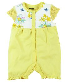 Babyoye Front Open Printed Butterfly Sleeves Romper - Yellow (0-3 Months