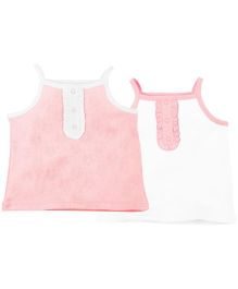 Babyoye Infant Sleeveless Jhabla With Front Frills Pack Of 2 - Pink White