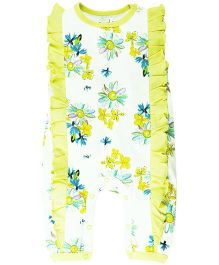 Babyoye Sleeveless Floral Print Romper With Frill - White Yellow