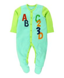 Babyoye Full Sleeves Sleepsuit With Attached Mitten And Booties - Sky Blue And Lemon