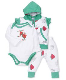 Snuggles Short Sleeves Hooded Sweat Jacket And Leggings With Onesie Fruit Print - White Green