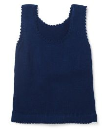Snuggles Round Neck Sleeveless Sweater - Dark Blue