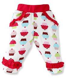 Snuggles Full Length Leggings Cupcake Print - White Pink