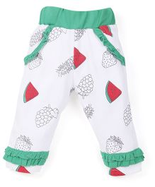 Snuggles Full Length Leggings Fruit Print - Green White