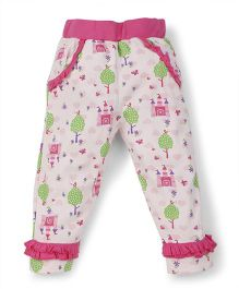Snuggles Legging With Castle Print - Pink