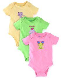Snuggles Half Sleeves Onesies Pack of 3 - Pink Yellow Green