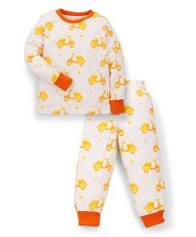 Snuggles Full Sleeves T-Shirt And Pant Sleep Suit - Off White Yellow