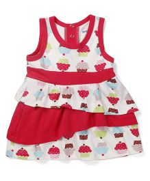 Snuggles Sleeveless Cupcake Print Frock - White And Raspberry Red