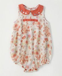Snuggles Sleeveless Onesie Floral Print - White & Peach