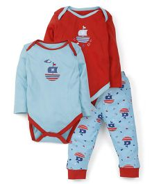 Snuggles Two Onesies And Legging Set - Red Blue