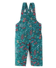 Snuggles Sleeveless Floral Print Dungaree - Dark Green