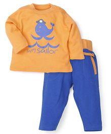 Snuggles Full Sleeves T-shirt With Pant Set - Blue Orange