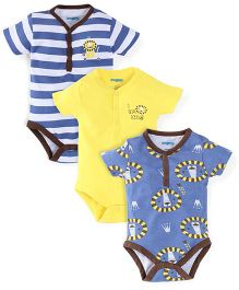 Snuggles Short Sleeves Bodysuits Pack of 3 - Blue White Yellow