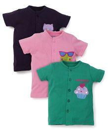 Snuggles Half Sleeves Vests Pack of 3 - Green Pink Violet