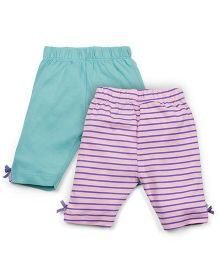 Snuggles Solid Color And Striped Set Of 2 Leggings - Green & Purple