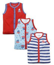 Snuggles Sleeveless Vests Pack of 3 - Aqua Red White