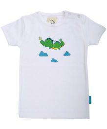 Zeezeezoo Short Sleeves Organic Cotton T-Shirt Crocodile - White