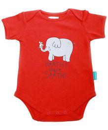 Zeezeezoo Half Sleeves Bodysuit Elephant Print - Red