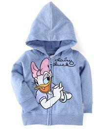 Kids Ville Full Sleeves Hooded Sweat Jacket Daisy Duck Design - Light Blue