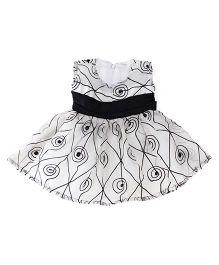 Tiny Toddler Sleeveless Multi Print Dress - Grey Black