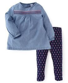Carter's Full Sleeves Top With Printed Leggings Set - Blue