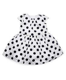 Carters Cap Sleeves Froct Polka Dot Print - White