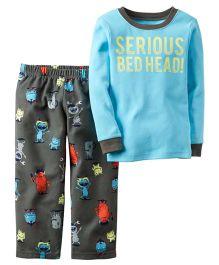 Carters Full Sleeves Printed Nightwear Set - Blue & Grey