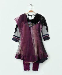 Ravechi Full Sleeves Kurta Churidar And Dupatta - Purple