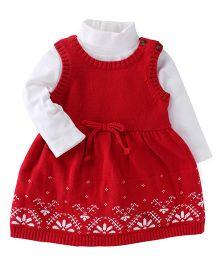 Carter's Sleeveless Frock With Inner Bodysuit Floral Design - Red White