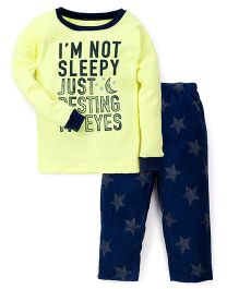 Carter's Full Sleeves Fleece With Not Sleepy Printed Nightwear Set - Green & Blue