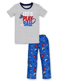Carter's Top And Pajama Set Lets Play Print - Grey & Blue