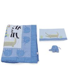 M&M Crib Sheet And Comforter With Pillow Set - Blue White