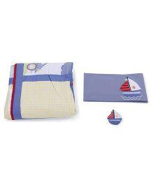 M&M 3 Piece Bedding Set Ship Embroidery - Blue Cream