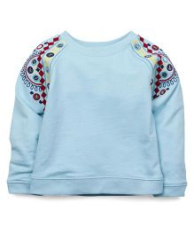 Carter's Full Sleeves Top Embroidery - Aqua Blue