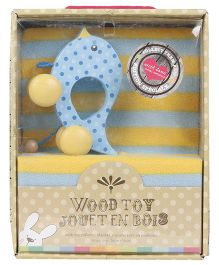 Honey Bunny Microfleece Blanket And Wooden Pull Along Toy - Yellow Blue