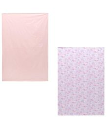 Babyoye Plain & Printed Bedsheet Peach & Purple - Set Of 2