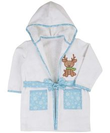 M&M Full Sleeves Hooded Bath Robe Deer Embroidery - White Blue