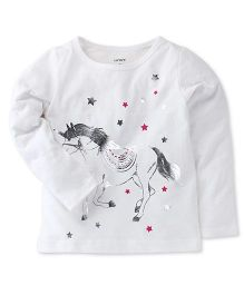 Carter's Full Sleeves Top Horse And Star Print - White
