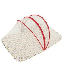 M&M Baby Bedding Set With Mosquito Net - White & Red