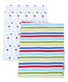 Babyoye Flat Sheets Pack of 2 - White Multicolour