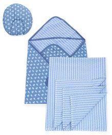 Babyoye Combo Set Of Two Wrappers And Baby Pillow - Blue