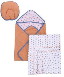 Babyoye Combo Set Of Two Wrappers And Baby Pillow - Orange White