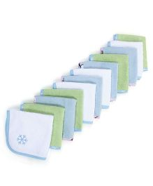 M&M Wash Cloths Pack Of 12 Printed Borders - Multicolor