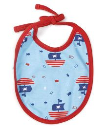 Snuggles Tie Up Bib Sailor & Fish Design - Red & Blue