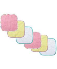M&M Plain Wash Cloth Pack Of 6 - Multicolor