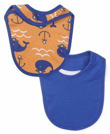 Snuggles Velcro Bibs Whale Fish Print Pack Of 2 - Orange & Blue
